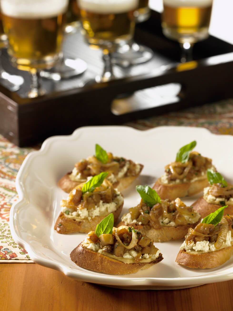 Beer-Cararmelized Onion and Eggplant Crostini
