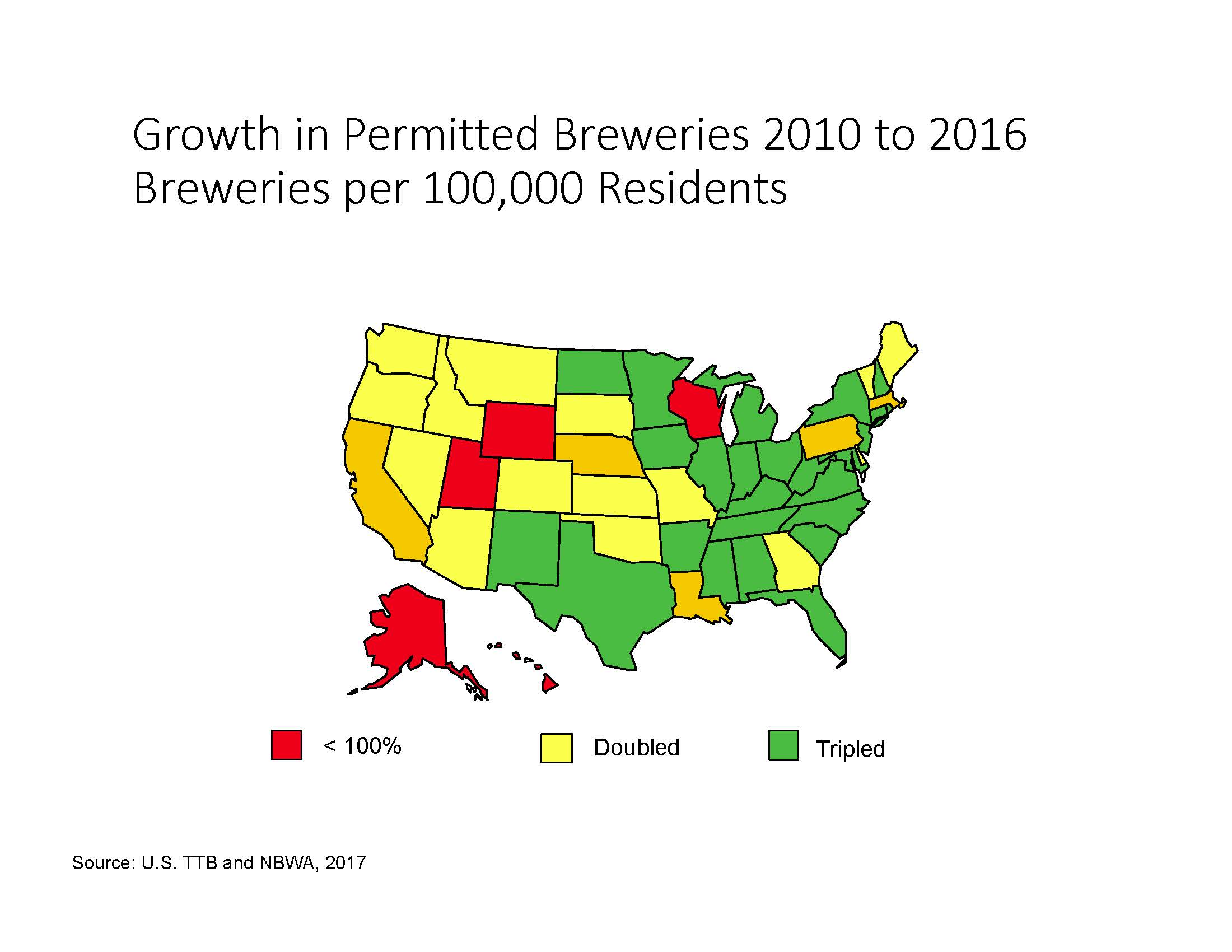 Growth in Permitted Breweries 1990 to 2016